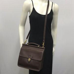 Vintage Coach Brown Leather Willis Station Bag